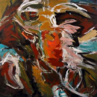 « C'est joyeux de voler ». Série oiseaux, dimensions 90x90, acrylique.