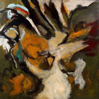 « Des plumes blanches et duveteuses volent devant le levé du soleil » K. White. Série des oiseaux. Dimensions 100x100, acrylique.
