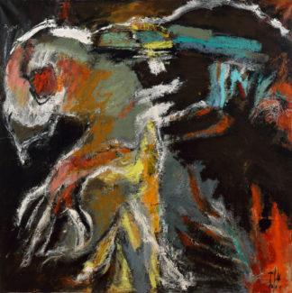 """""""Le premier réveillé fut l'oiseau à l'oeil perçant"""" K. White de la série Oiseaux. Acrylique. Dimensions : 100x100"""