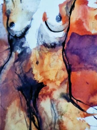 Corps traversés 2, technique mixte, Série des Nus de l'artiste Juliette Trébuchet