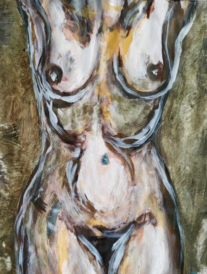 Corps traversés 4, technique mixte, Série des Nus de l'artiste Juliette Trébuchet