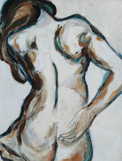 Corps traversés 6, technique mixte, Série des Nus de l'artiste Juliette Trébuchet
