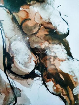 Corps traversés 7, technique mixte, Série des Nus de l'artiste Juliette Trébuchet