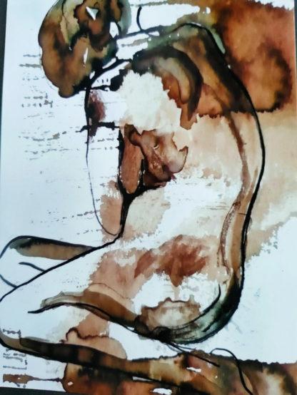 Corps traversés 9, technique mixte, Série des Nus de l'artiste Juliette Trébuchet