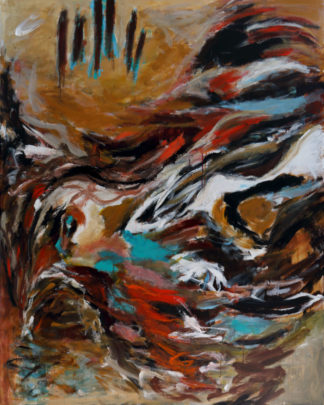 « Terre, eau, lumière. Je vole entre les mondes ». Série oiseaux. Dimensions 116x82, acrylique.