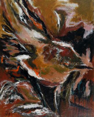 « Troglodyte, juste posé là ». Série oiseaux. Dimensions 81x101, acrylique.
