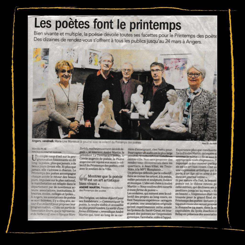 Article de presse sur Juliette Trébuchet artiste à angers art abstrait, nus et sculpture