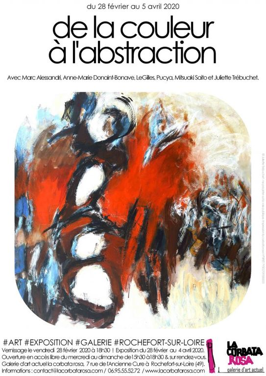 Affiche de l'exposition collective avec Juliette Trébuchet : De la couleur à l'abstraction à Rochefort sur Loire